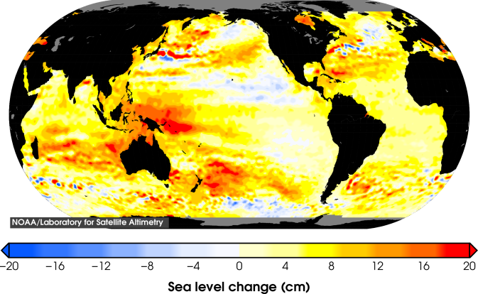 Changes in sea level since 1993