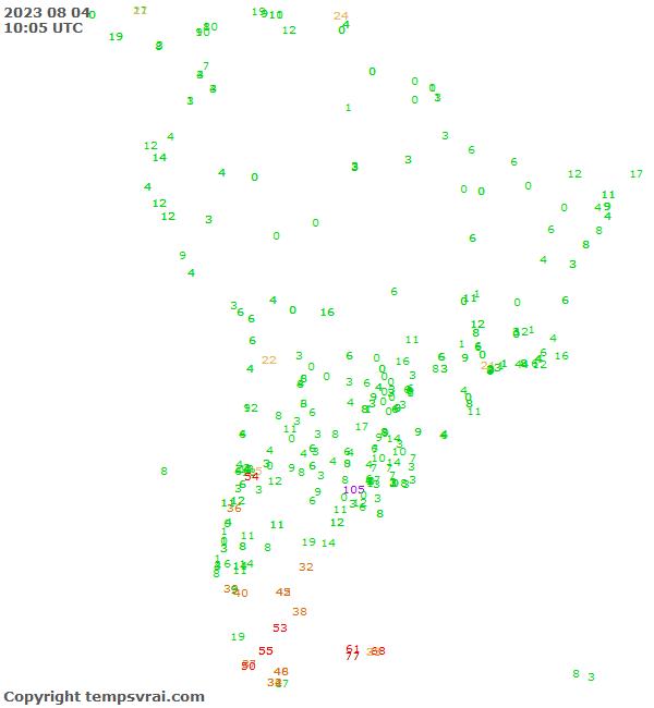 Aktuelle Messwerte für Südamerika