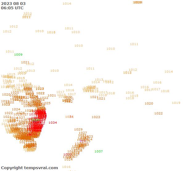 Aktuelle Messwerte für Ozeanien