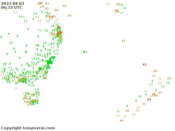 Aktuelle Messwerte für Tasmansee