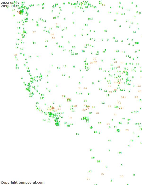 Aktuelle Messwerte für USA-West