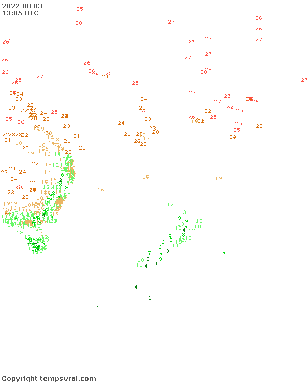Observations for Pacific Ocean South West